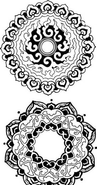 免费素材 矢量素材 艺术文化 吉祥图文 古典吉祥团花纹样