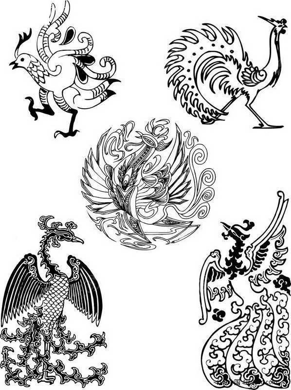 吉祥凤凰图案 朱雀 凤凰 传统图案  吉祥动物 图形 吉祥图案 矢量素材