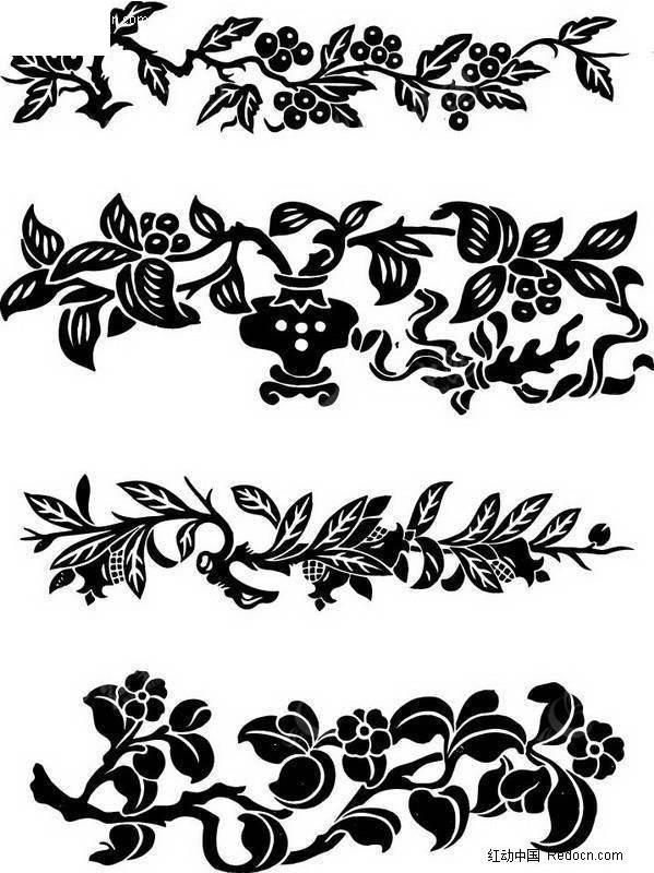 免費素材 矢量素材 藝術文化 傳統圖案 葡萄藤裝飾變形圖案  請您分享