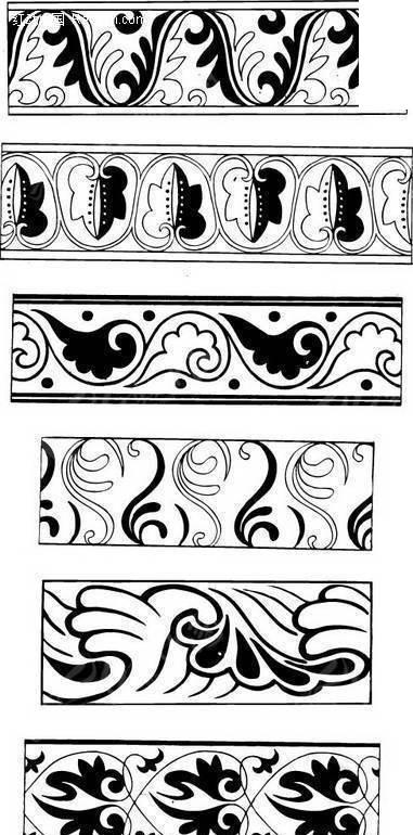 古代纹饰 古老花纹 浮雕图案 木雕图样 古典纹样 二方连续  传统图案