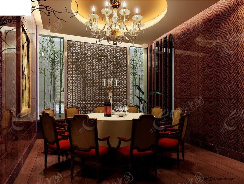 3D餐厅包厢效果图高清图片
