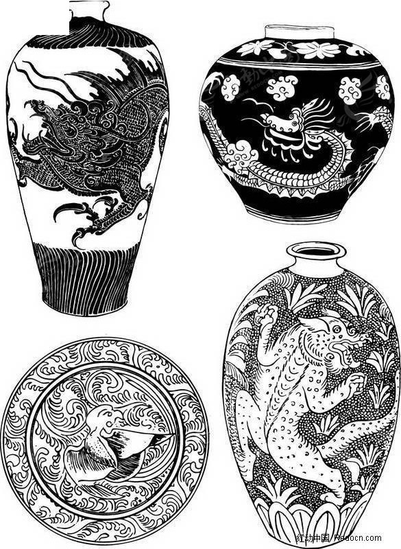 中国陶器图案 龙形 花瓶 陶瓷图案 陶器 瓷器 中国古代工艺品 陶艺 青