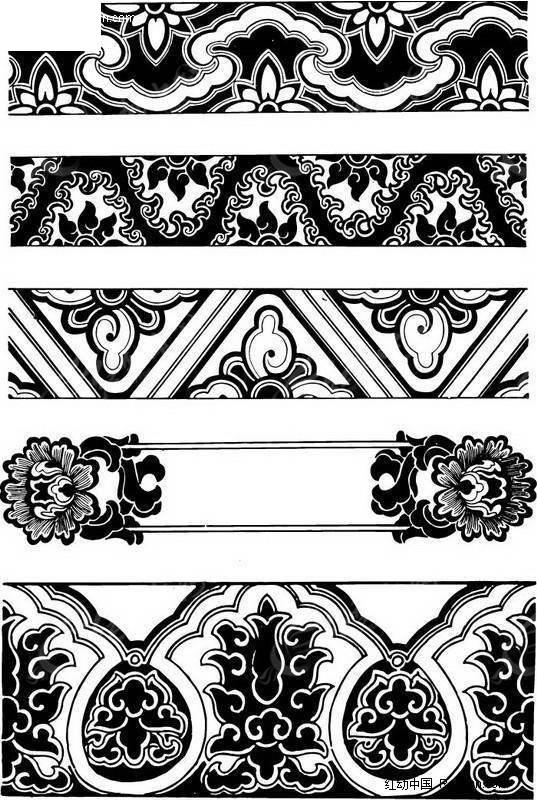 中国古式纹饰矢量图 传统图案