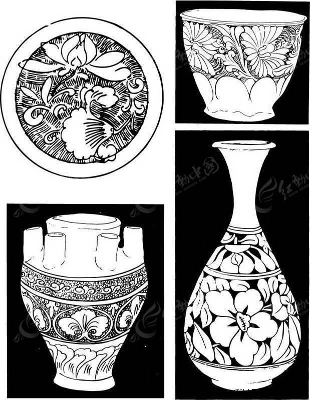 手绘黑白陶瓷花瓶_传统图案_红动手机版