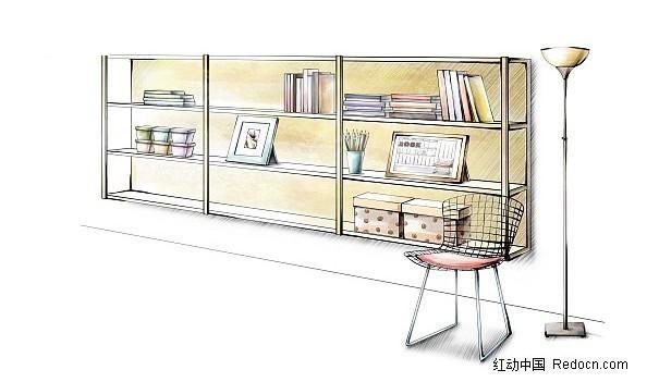 手绘收纳柜效果图亭子透视效果图手绘