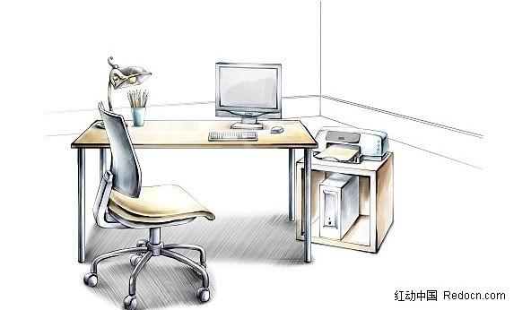办公桌手绘效果图