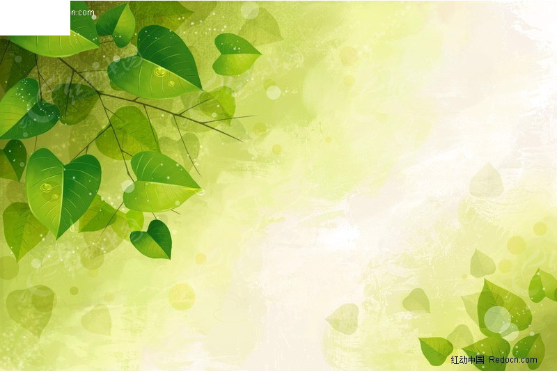 ps手绘绿叶图案_底纹背景