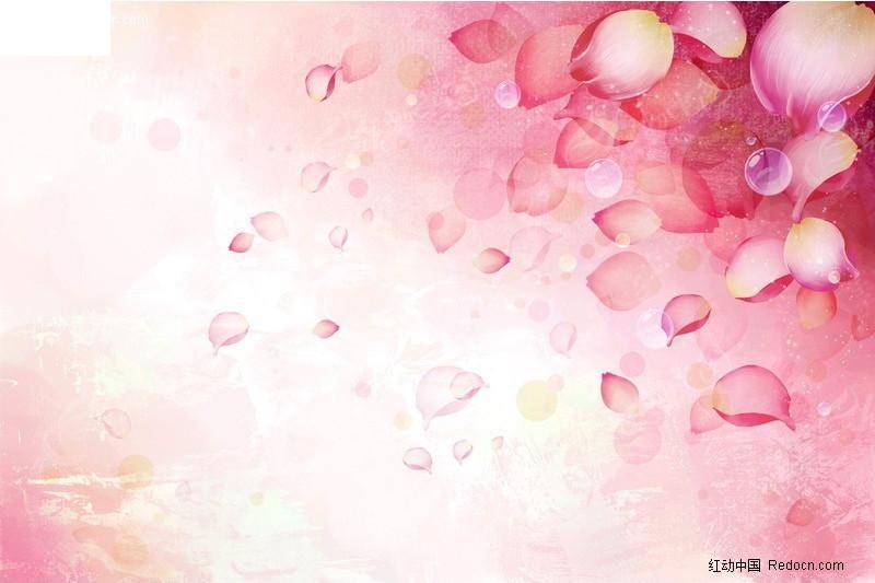 手绘花瓣粉色背景