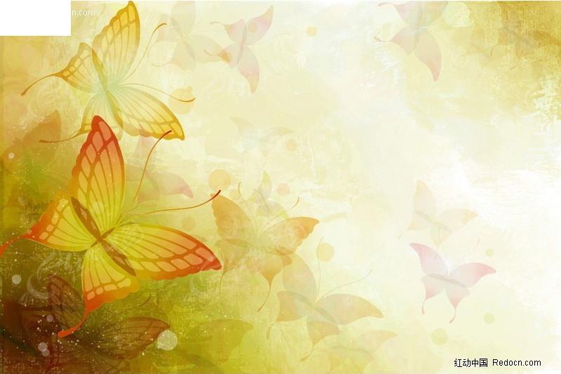 手绘蝴蝶图案背景