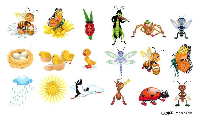 可爱卡通昆虫矢量