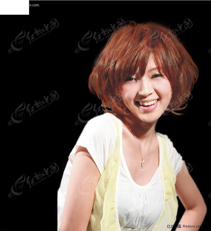 微笑美女发型抠图psd素材免费下载_红动网
