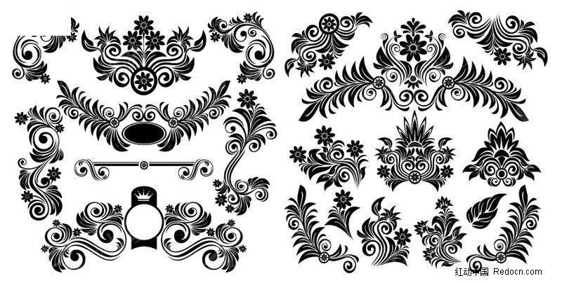 欧式黑白花纹花边矢量图片