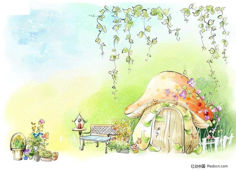 手绘卡通蘑菇屋