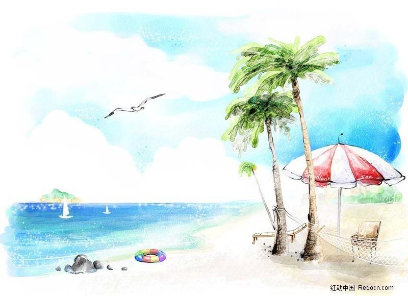 手绘夏天海滩图片