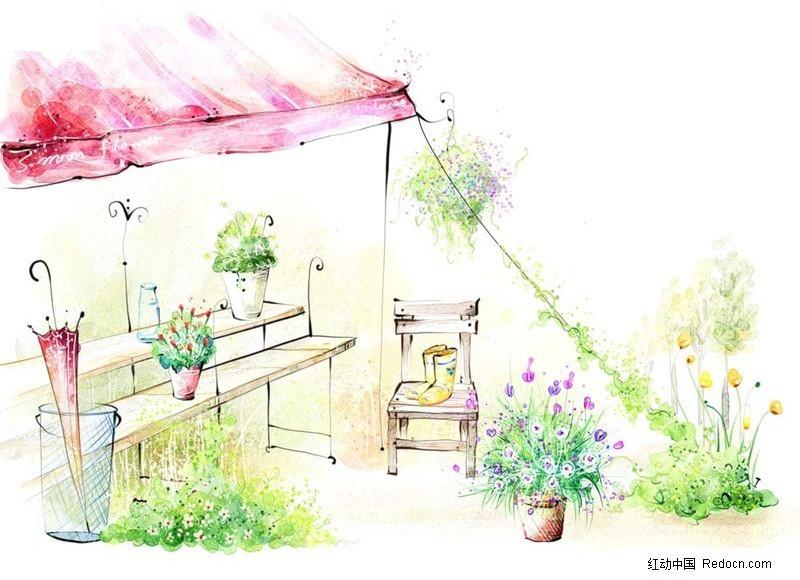 手绘花棚图片