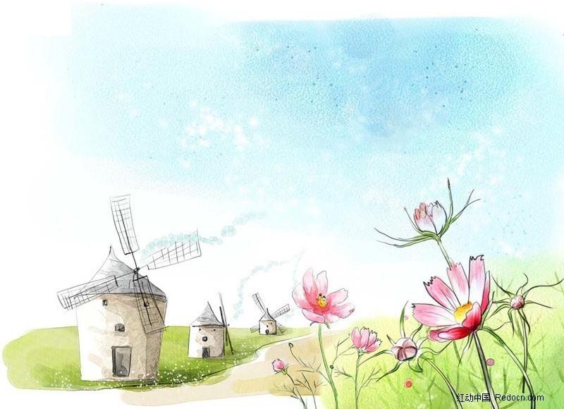 花朵 风车 天空 背景 草地  手绘 ps绘画 卡通插画 风景图片 psd分层