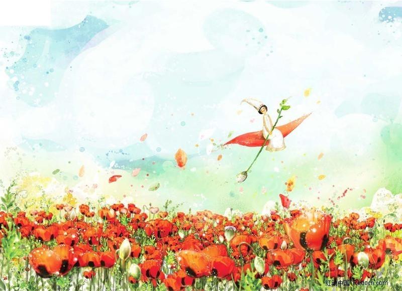 手绘花海仙子图片