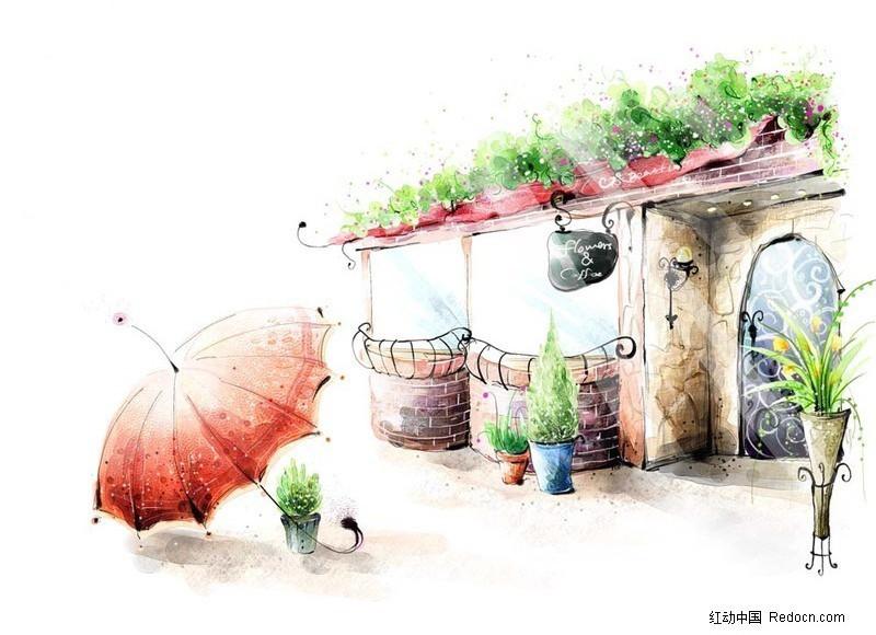 免费素材 psd素材 psd分层素材 风景 ps卡通咖啡屋前的雨伞  请您分享