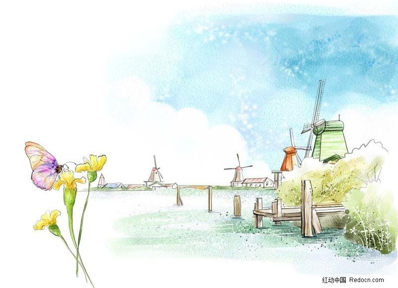 手绘背景 蝴蝶 花朵 天空 风车 木桩  手绘 ps绘画 卡通插画 风景图片