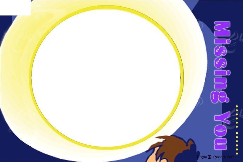 夜晚圆月亮相框_边框相框