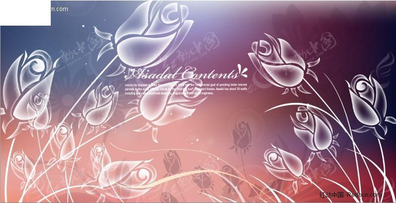 透明玫瑰花 透明 玫瑰花 花朵 流畅曲线 泡泡 光斑 朦胧 底图 背景