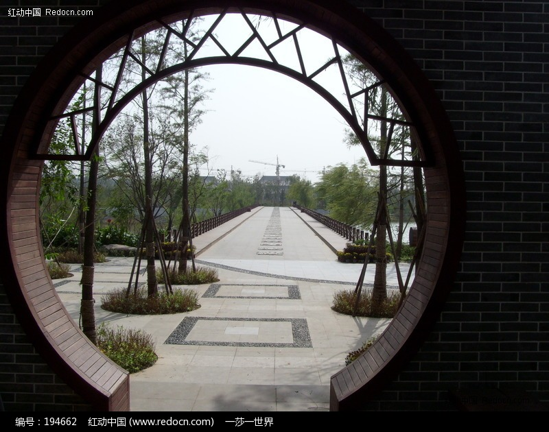 中式月亮门图片_园林景观图片