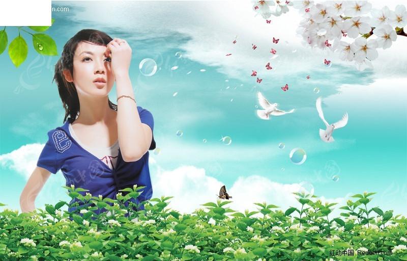 花丛中的气质女孩