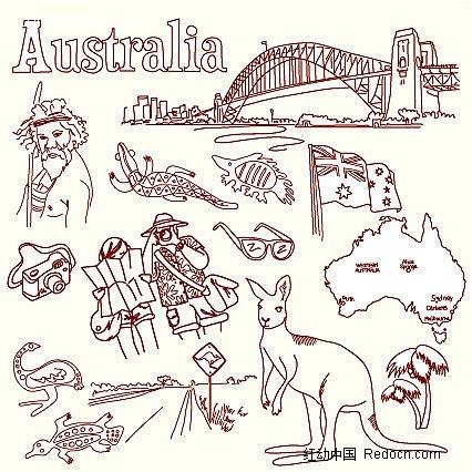 手绘人物袋鼠桥梁和澳大利亚旗帜-卡通人物-矢量人物; 下载《线描画