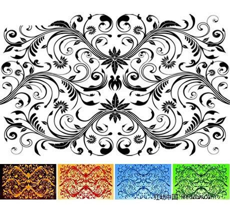 古典花藤纹样矢量素材矢量图