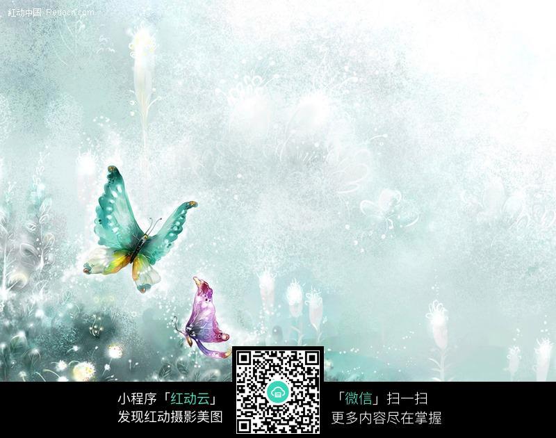手绘蓝色蝴蝶背景图片