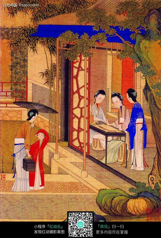 古代美女作画图图片