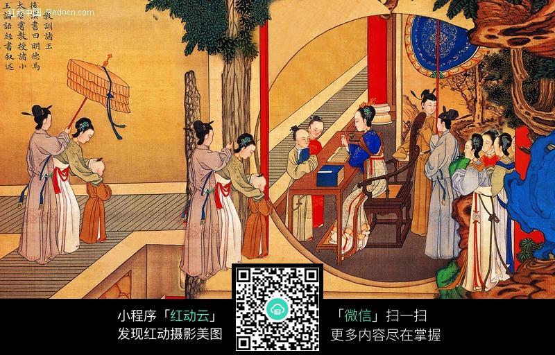 古代美女画画图图片