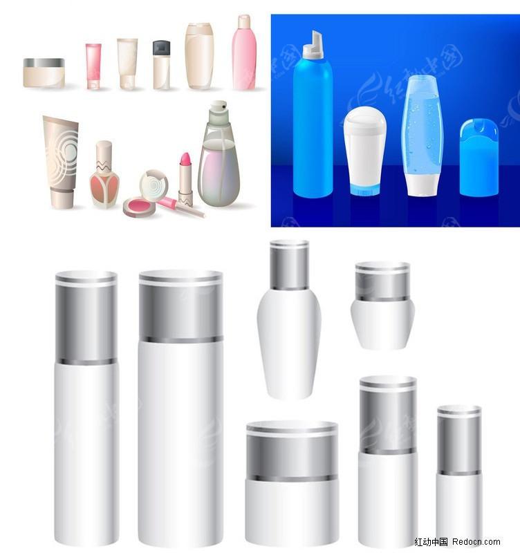 免费素材 矢量素材 广告设计矢量模板 包装设计 多款化妆品瓶子  请您图片