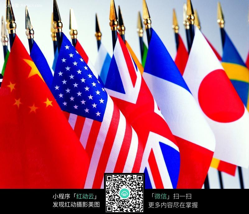 排列有序的世界国旗图片图片
