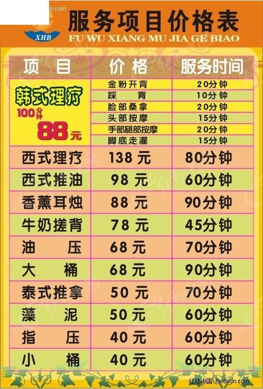 足浴服务项目价格表