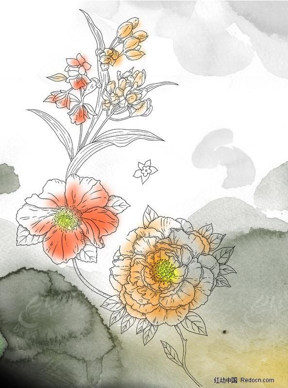 PS水彩花朵PSD素材免费下载 编号203802 红动网