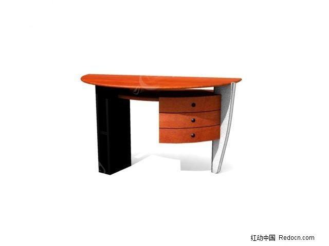 半圆形办公桌3d模型