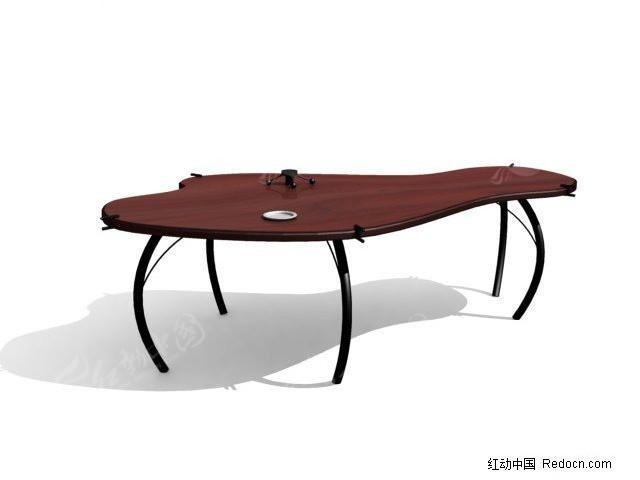 褐色铁架办公桌3d模型