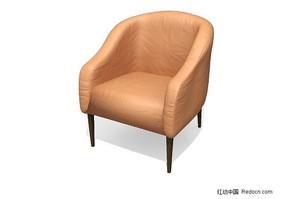 木质沙发脚的沙发3D模型