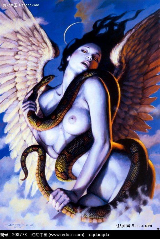 手绘裸体美女与蛇图片
