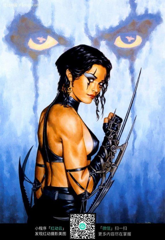手绘性感女战士图片
