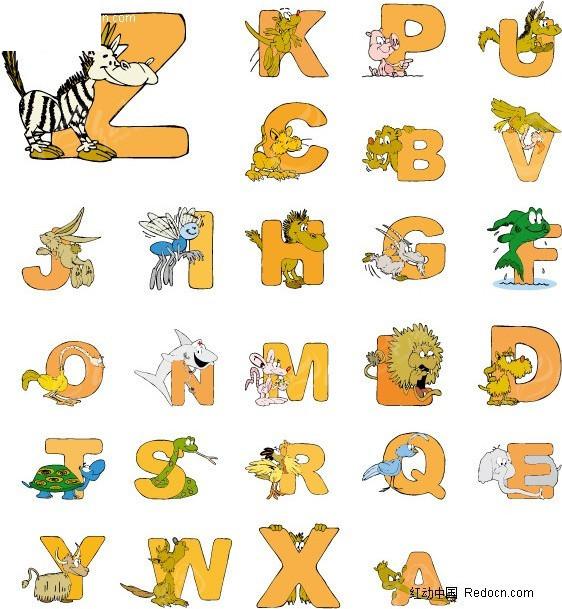 动物字母矢量艺术字_英文字体