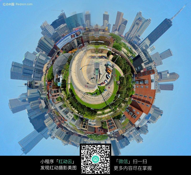 创意圆形地球城市图片