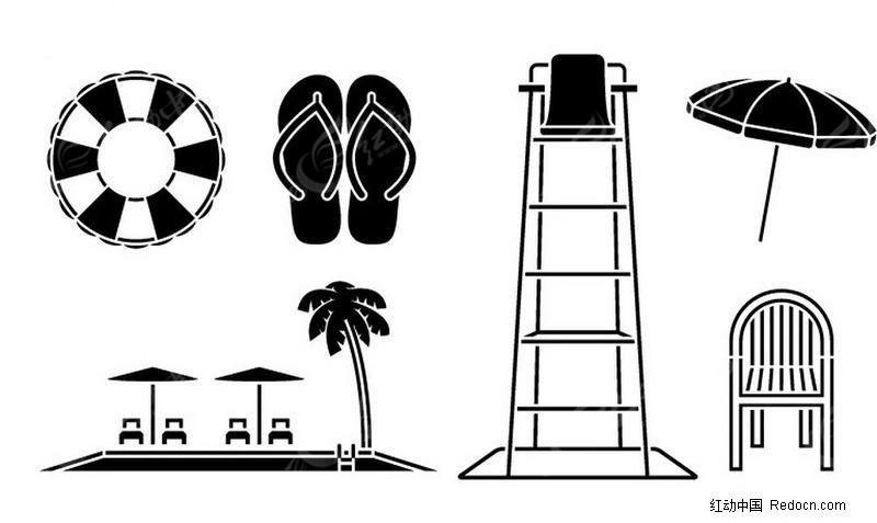 海邊游泳場工具剪影圖片
