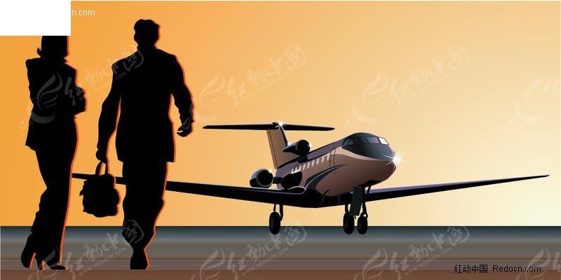 商务人士 飞机 白领 商务人物剪影 商务图片 矢量素材