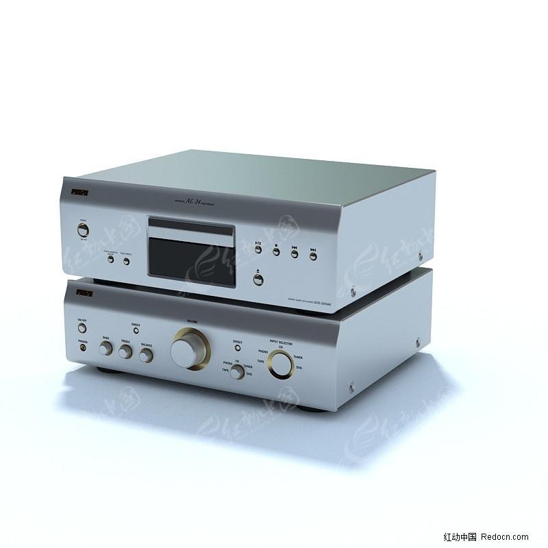 高级功放机3d模型_家用电器