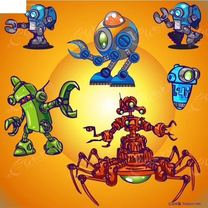 六款机器人矢量图_卡通形象