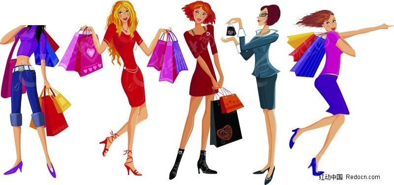 一群购物女郎矢量图 女性女人