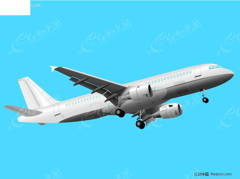 飞行的客机矢量图_交通工具