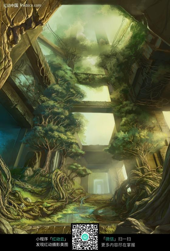 树根图片建筑的古代盘绕废弃画皮画漫画-树枝人站d漫场景图片